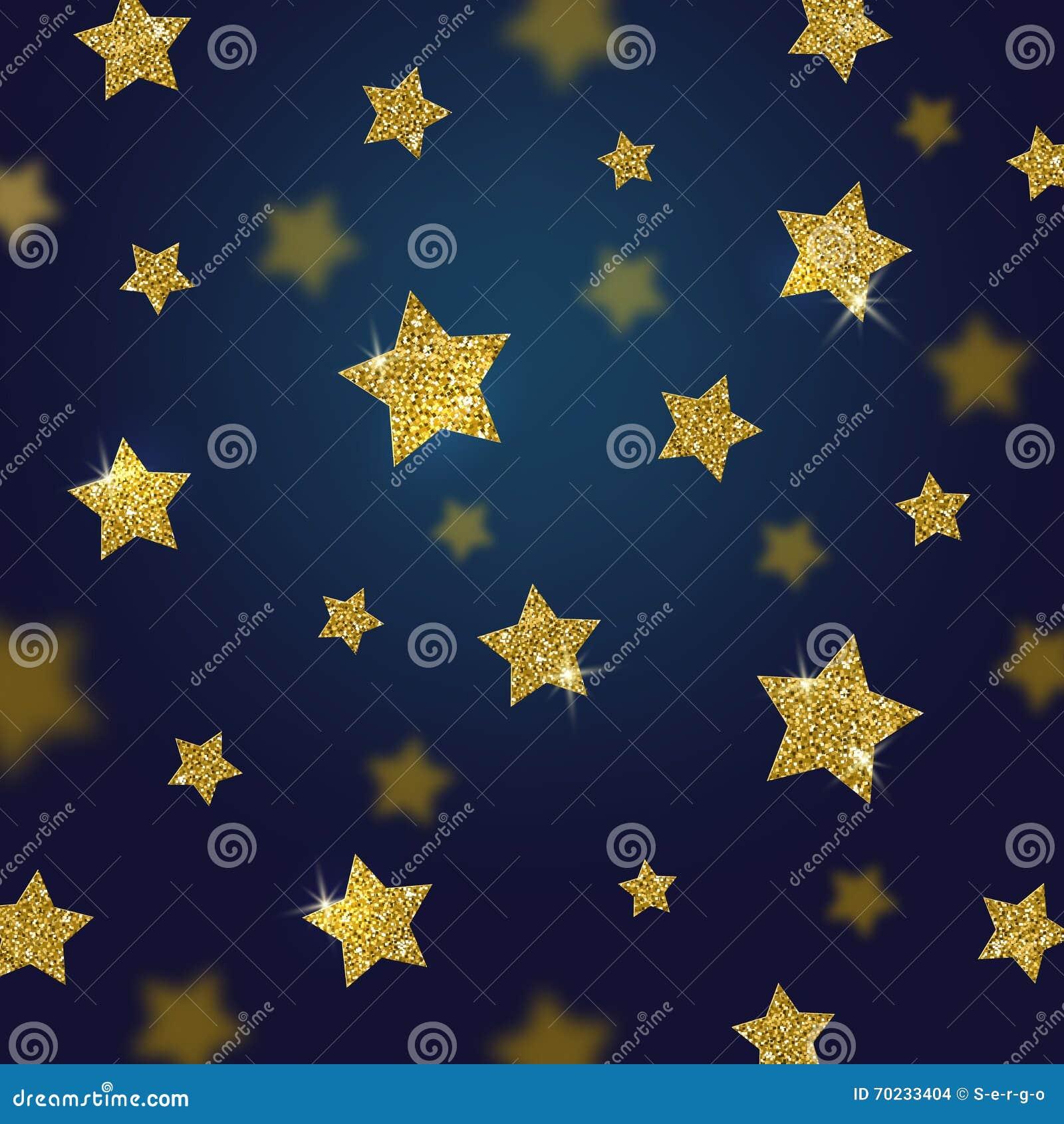 Glitter Gold Stars Background Stock Vector Illustration