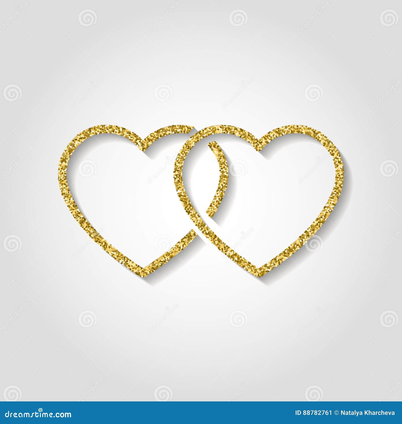 Glitter Icon Double Heart Of Gold Logo Love Symbol Use In Dec