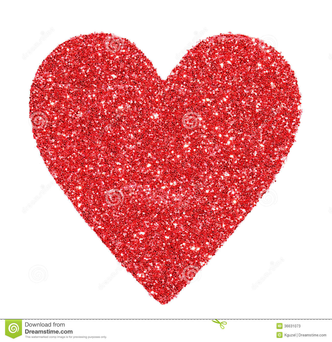 Glitter Red Heart Isolated On White Valentines Day Stock