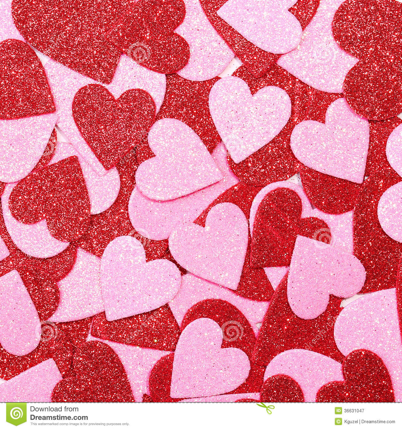 Glitter Red And Pink Hearts Background Valentines Day Stock Image