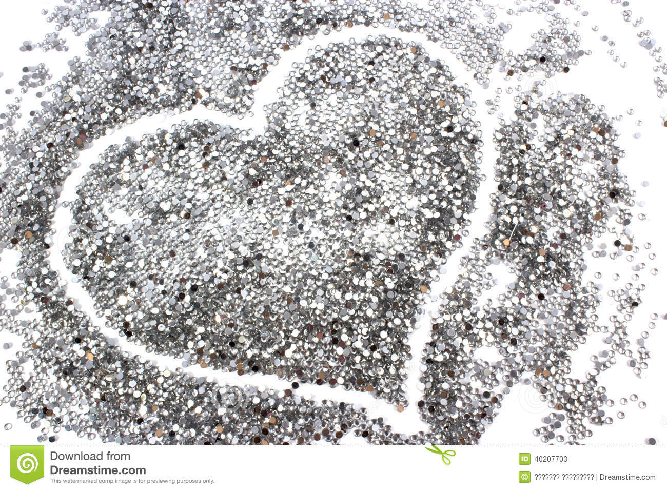 Glitter Silver Background With Heart Stock Photo - Image: 40207703