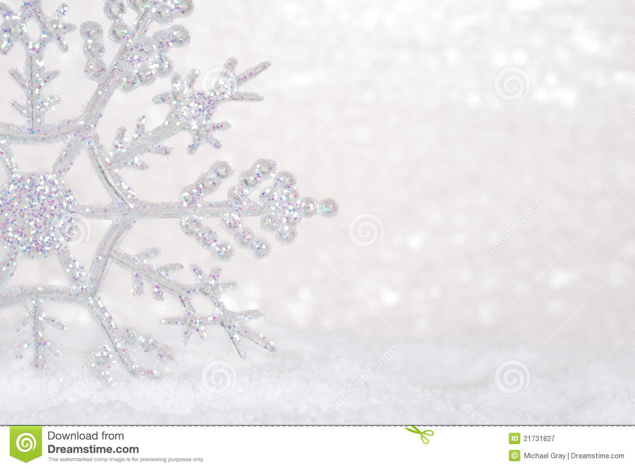 Glitter Snowflake In Snow Stock Image Image Of Copy