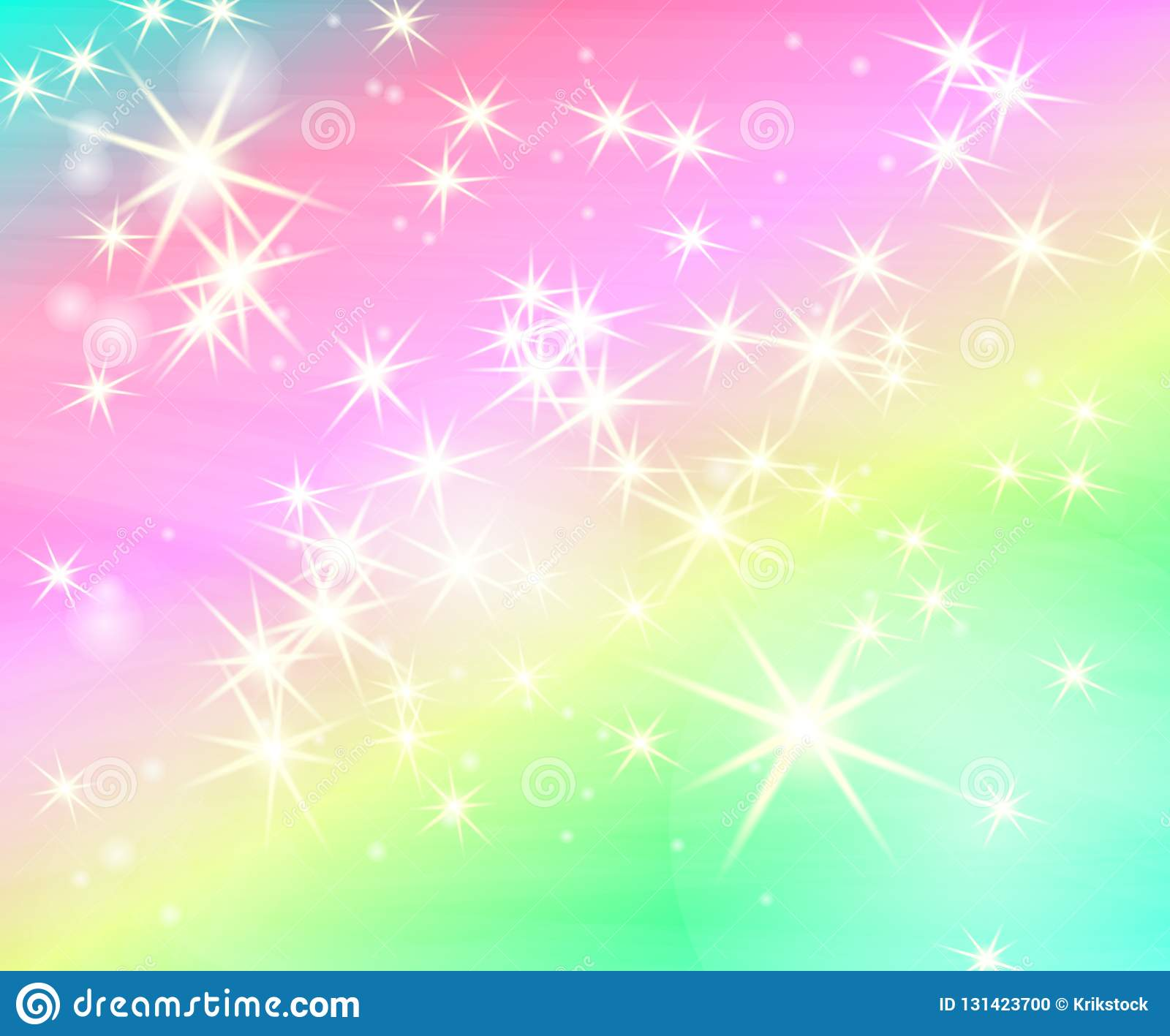 Glitter star rainbow background. Starry sky in pastel color. Bright mermaid pattern. Unicorn colorful stars backdrop.