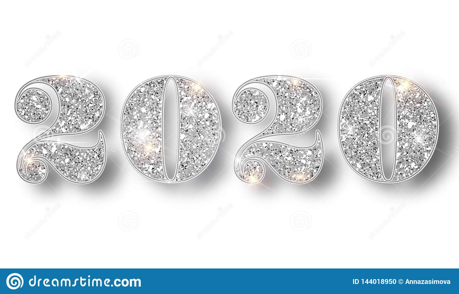 2020 glitter typography design template. Silver sparkling Numbers Design of greeting card of Happy new year design