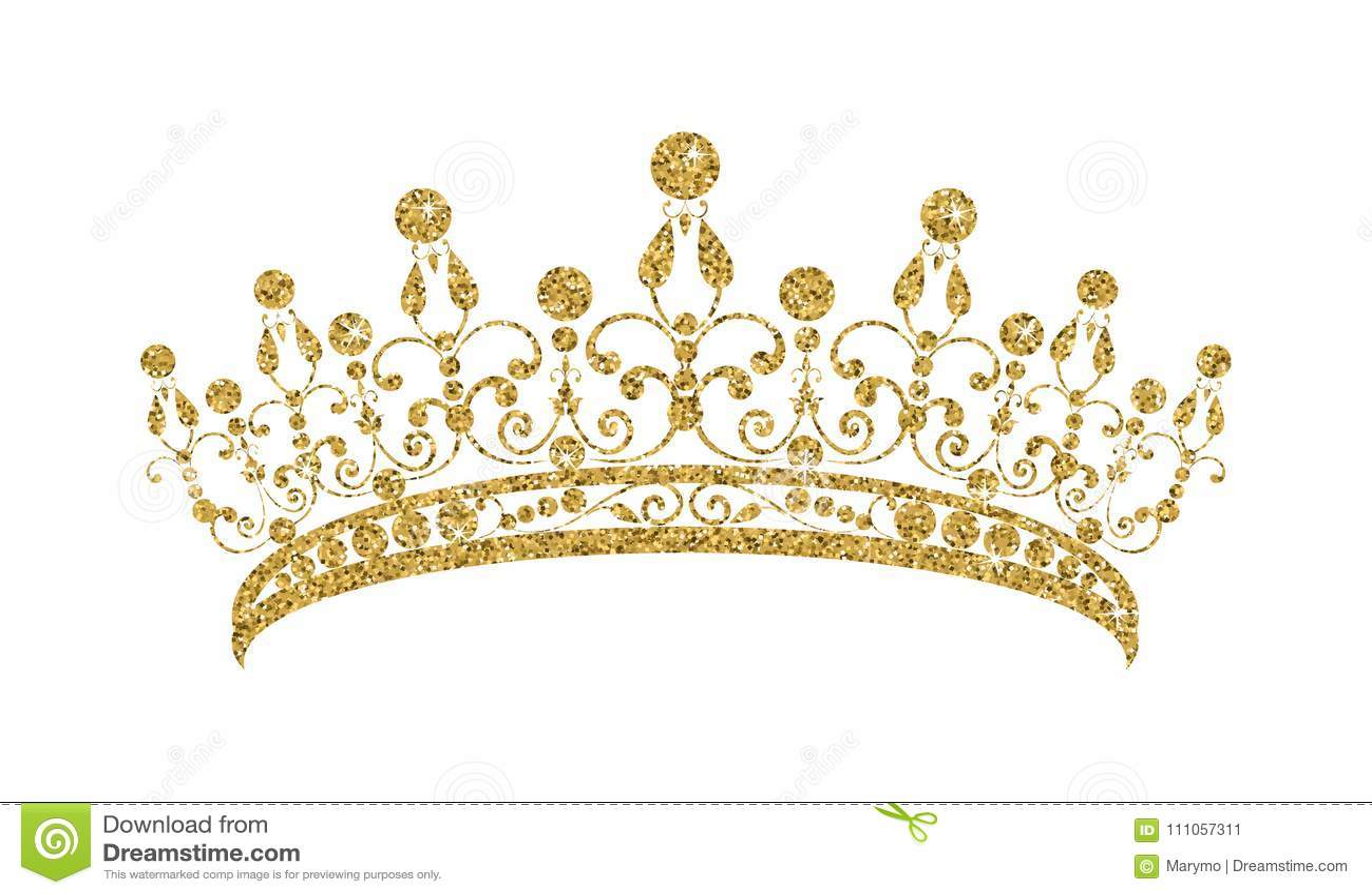 Glittering Diadem. Golden tiara isolated on white background.