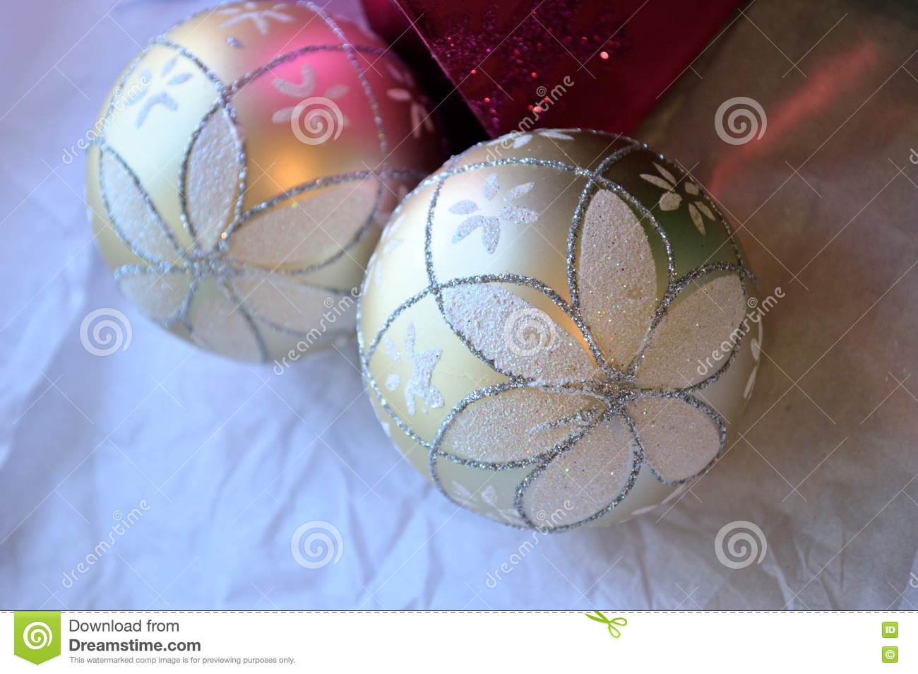 Glittery Christmas ornament background, pink and white