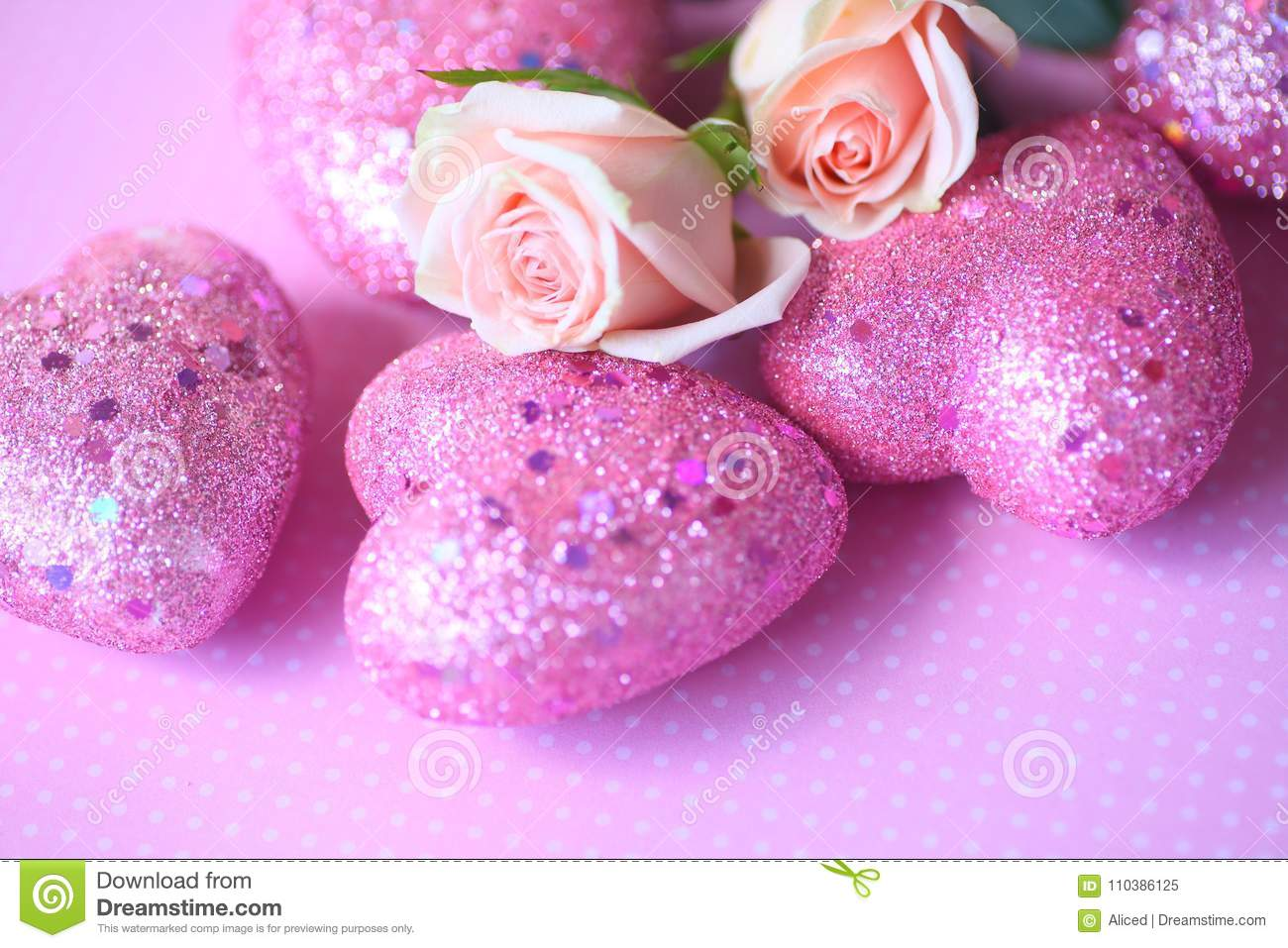 Pink Valentine Hearts With Roses Stock Image - Image of ...