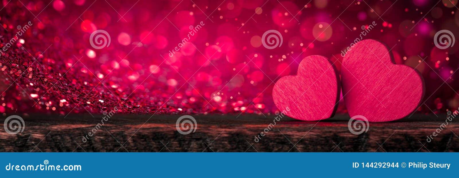 Glittery Pink Valentine Hearts
