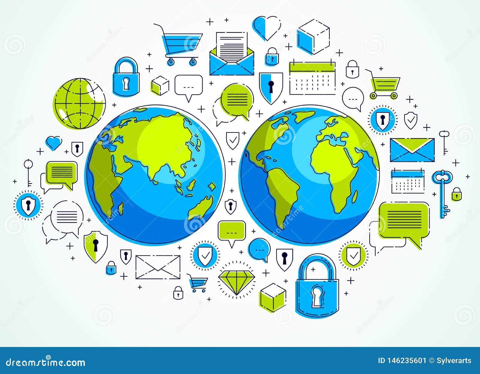 Globaal Internet-verbindingsconcept, aarde met verschillende geplaatste pictogrammen, Internet-activiteit, grote gegevens, global