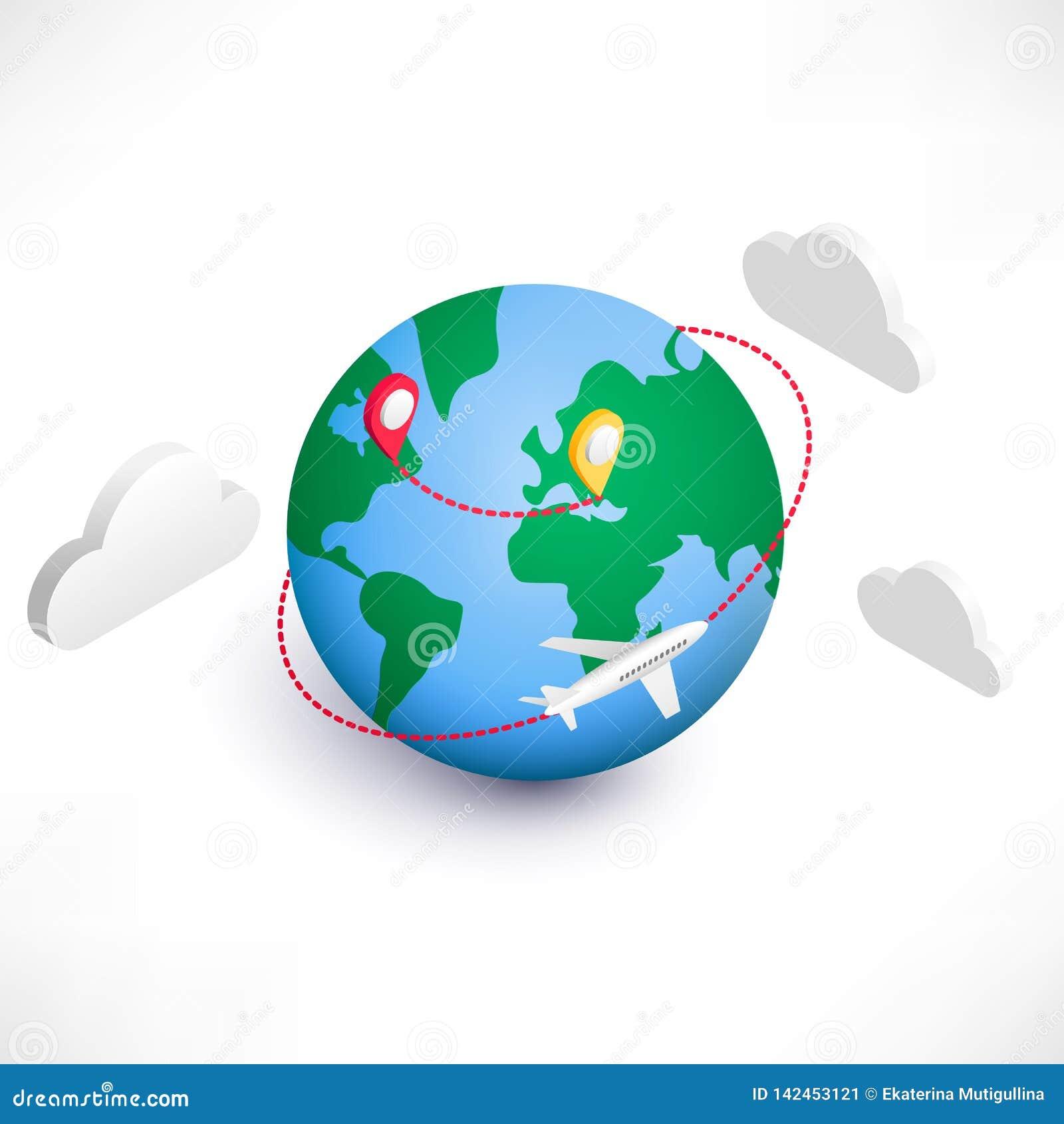 Globaal logistiek isometrisch pictogram