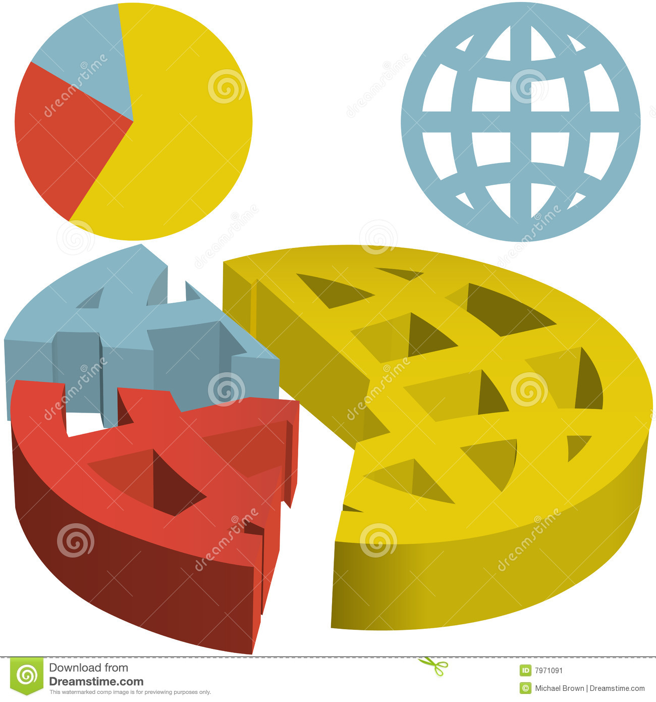 Global 3d Financial Pie Chart Of Globalization Dat Stock Vector