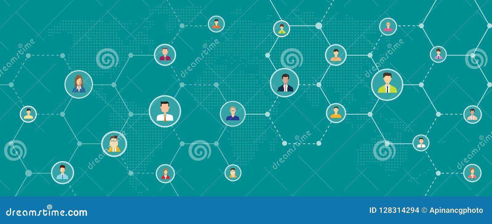 Global affär direktanslutet och socialt baner för bakgrund för nätverksanslutning