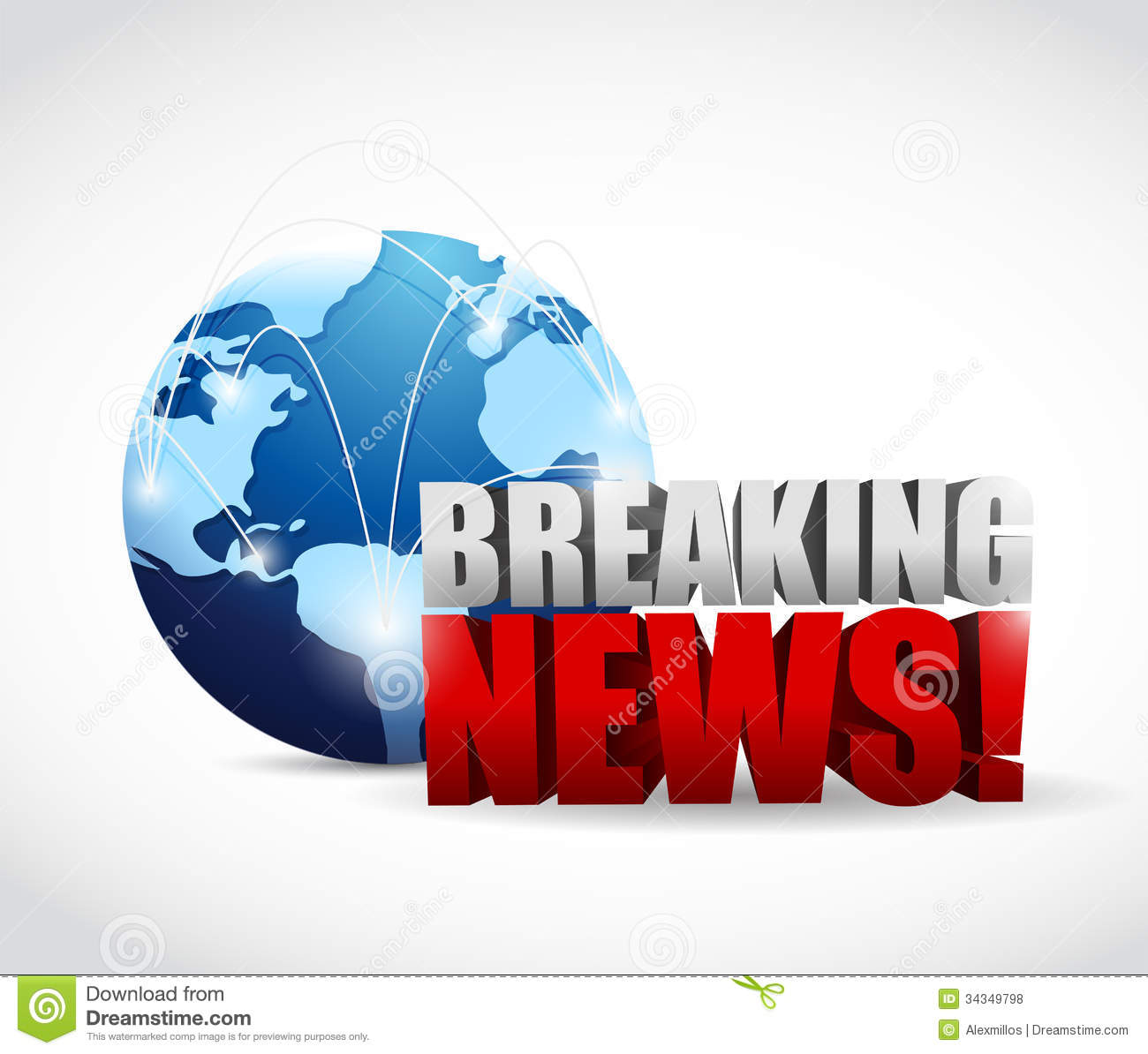 Global Breaking News Illustration Design Stock Illustration