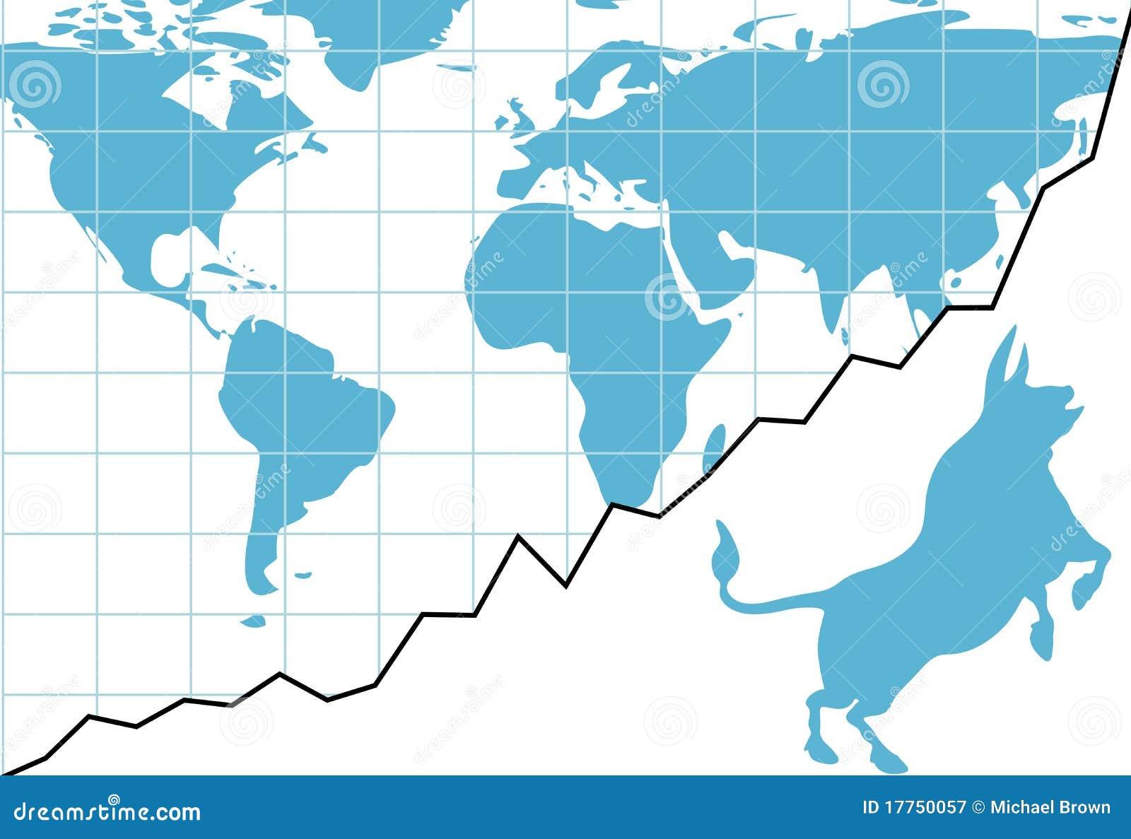 Global Bull Market Chart Stocks World Growth Graph Stock Vector