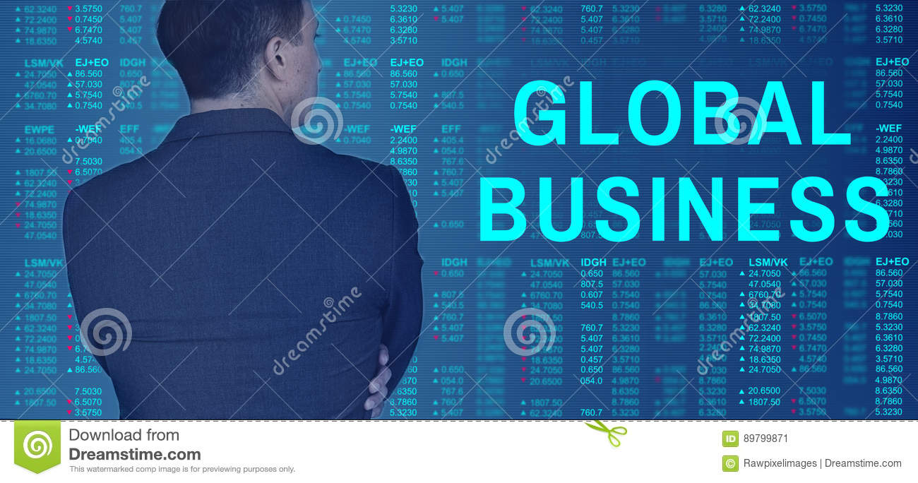 Global Business Accounting Fintech Marketing Concept Stock