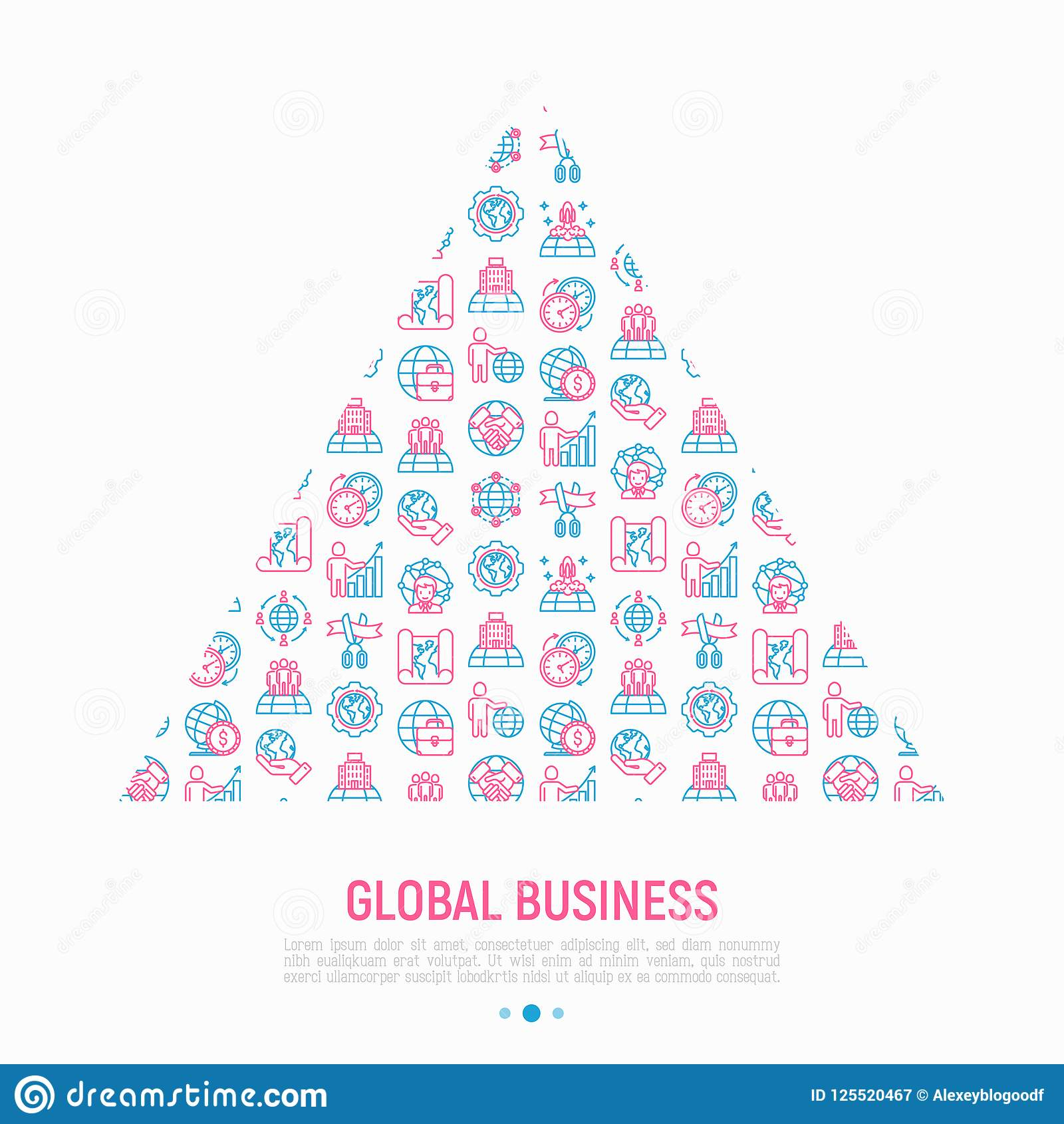 Global Business Concept In Triangle Stock Vector Illustration Of