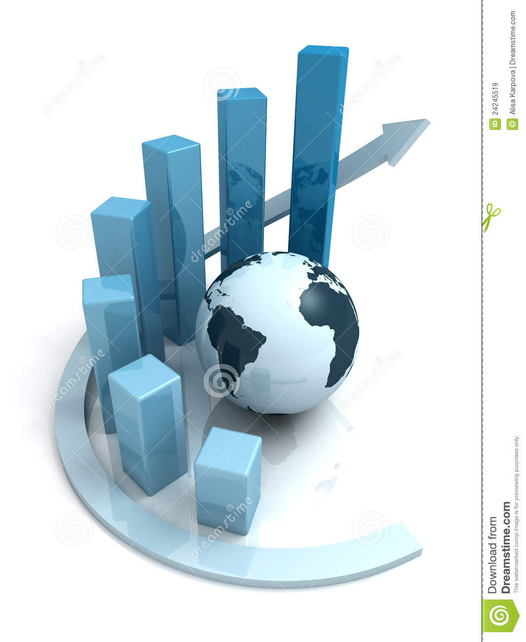 Global Business Growth Blue Bar Graph With Arrow Stock ...