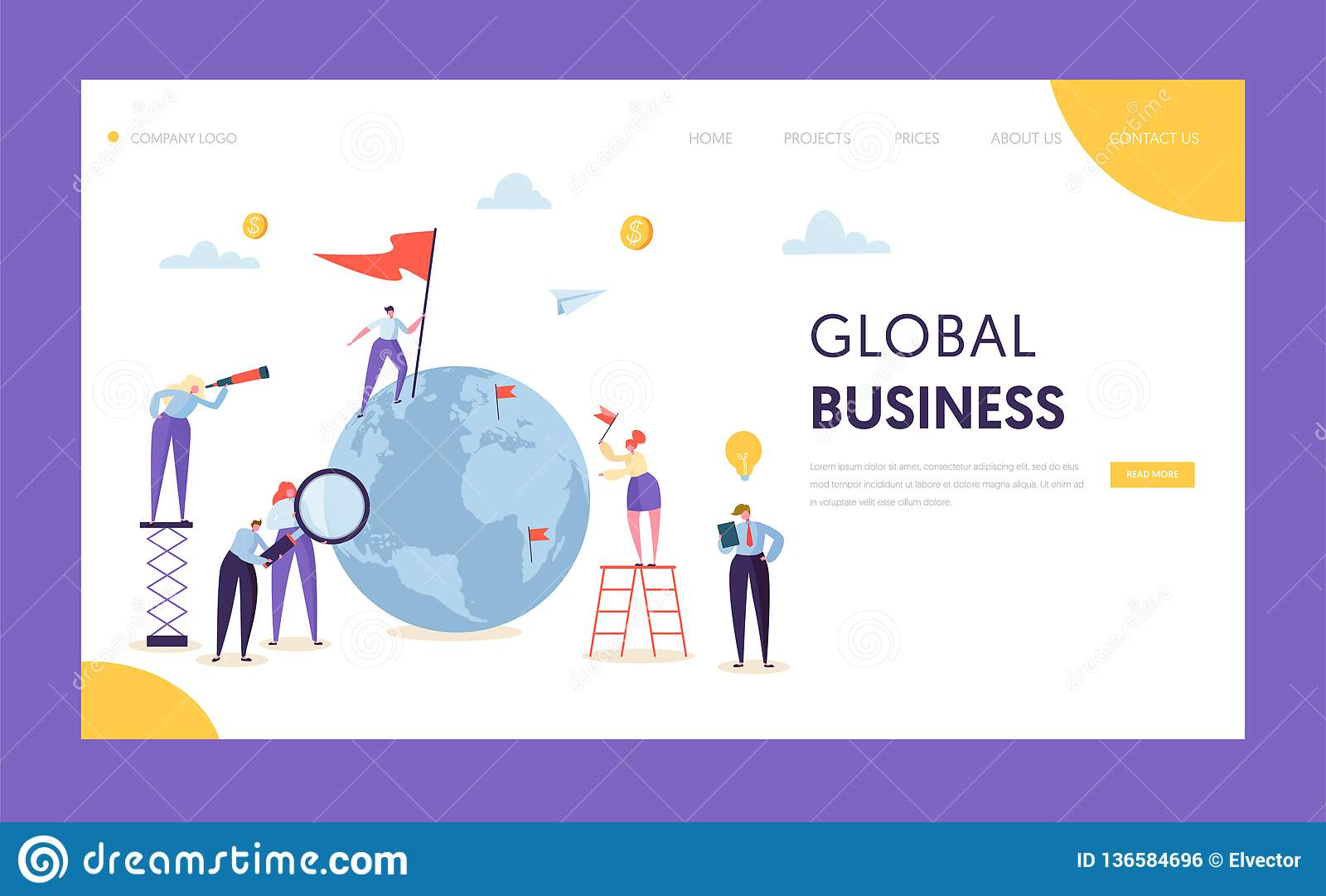 Global Business Leadership Flag Landing Page. Corporate Businessman Search Partnership in World Globe with Ladder
