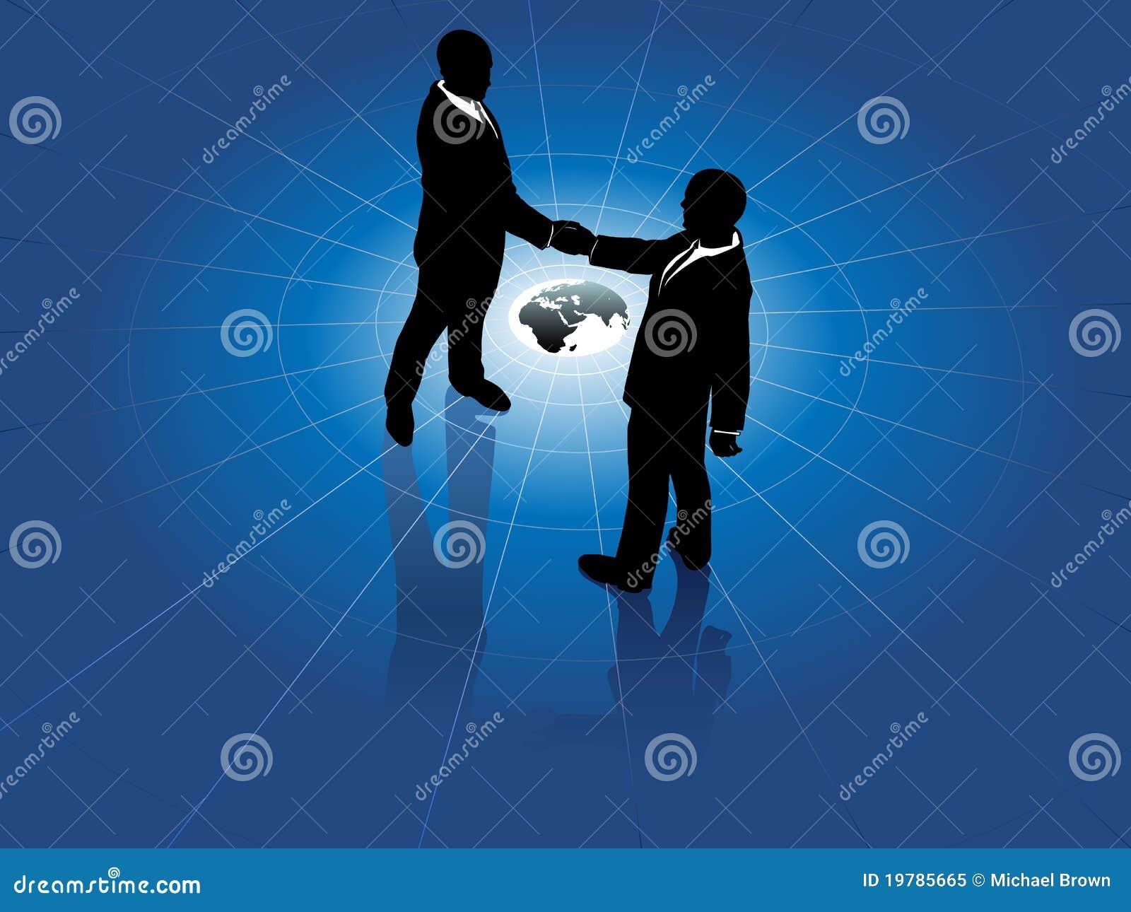 global business men handshake world agreement royalty free stock photo