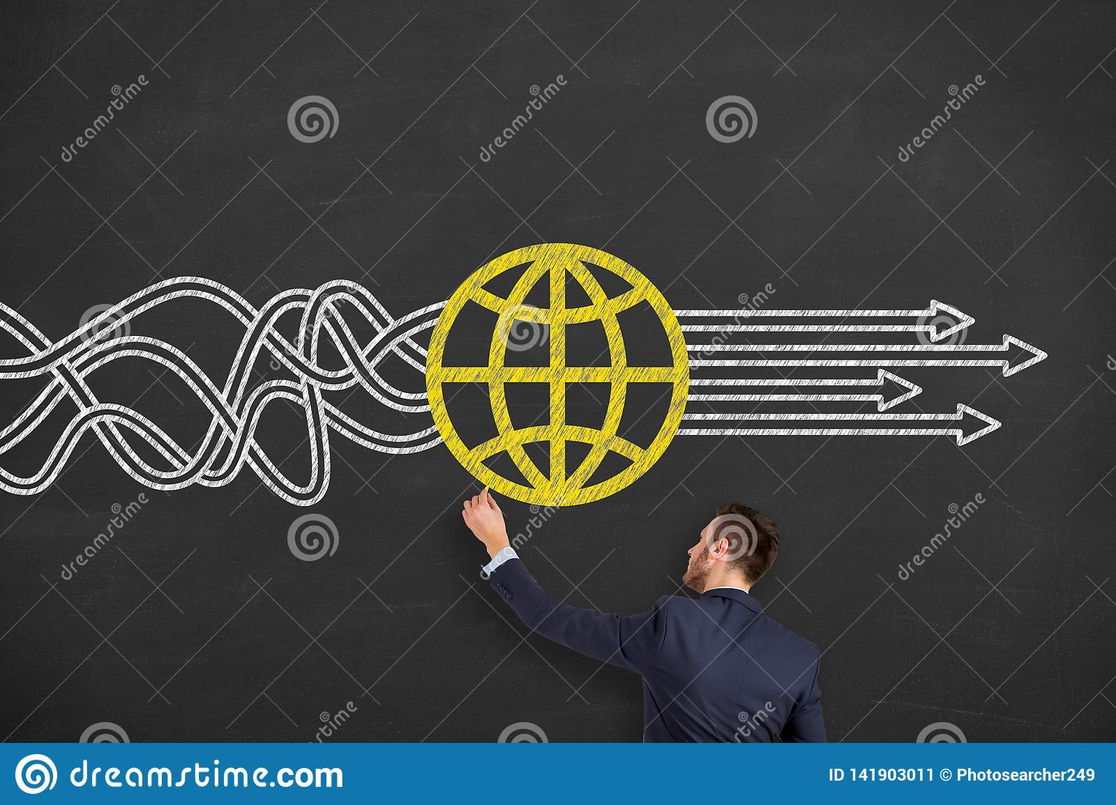 Global Business Solution Concepts on Chalkboard Background