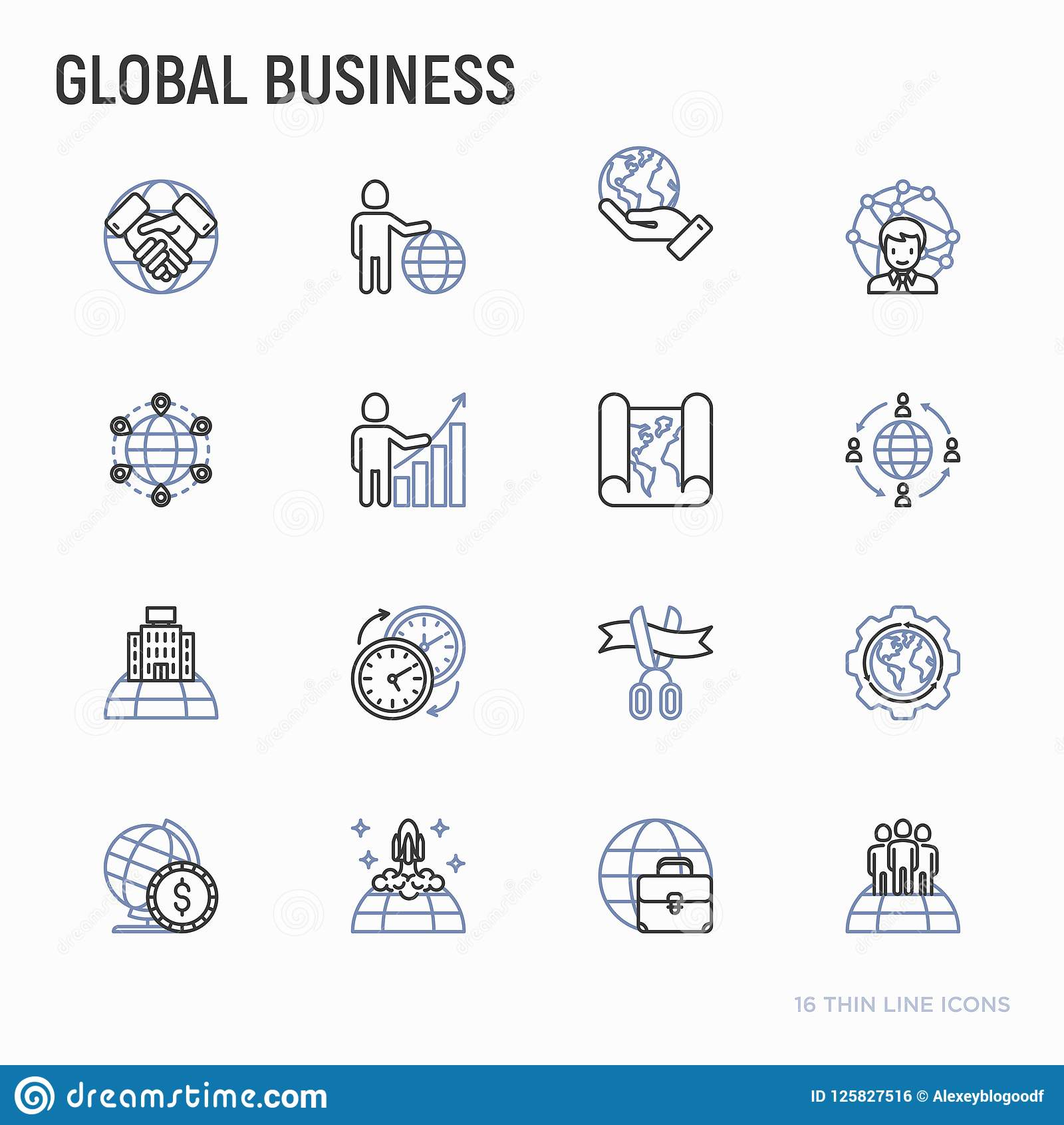 Global Business Thin Line Icons Set Stock Vector Illustration Of