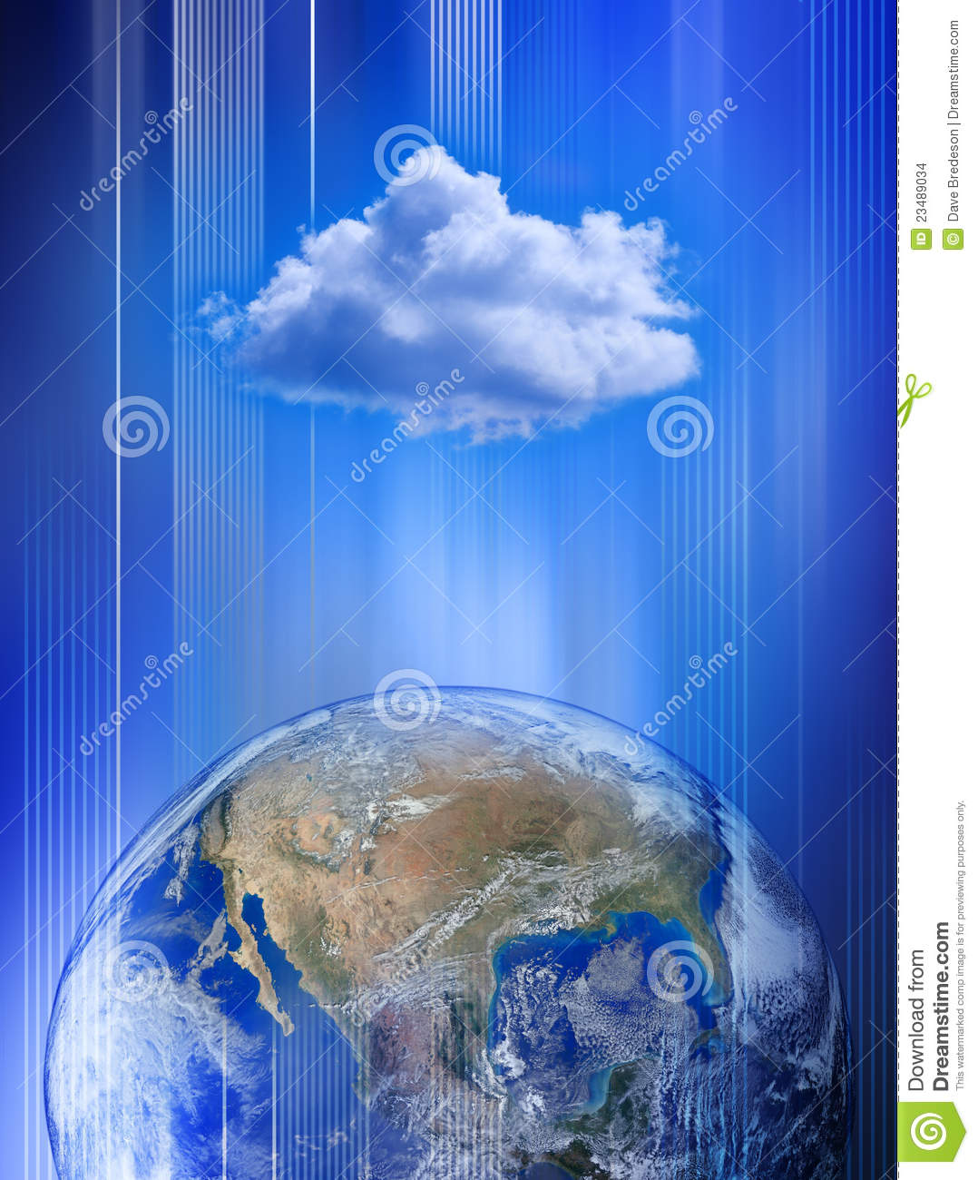 Networking Cloud Computing: Global Cloud Computing Network Stock Illustration