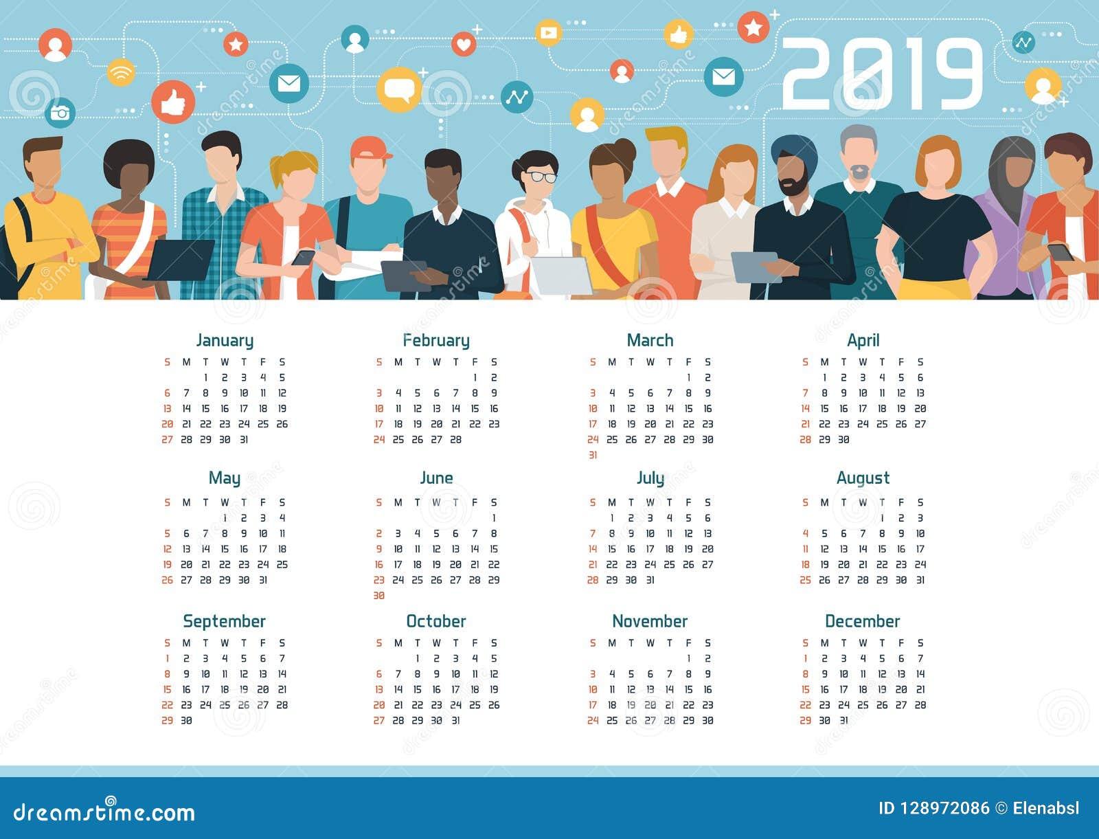 Global community connected through social media, calendar 2019