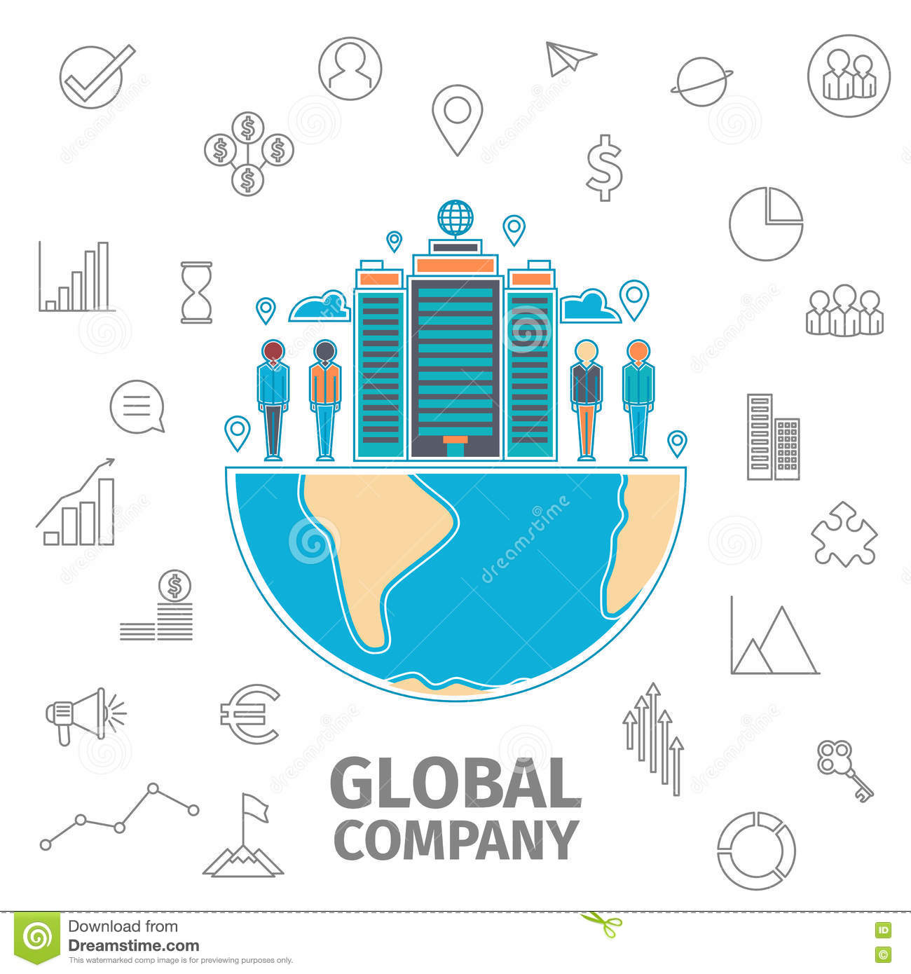 Global Company Concept stock vector. Illustration of ...