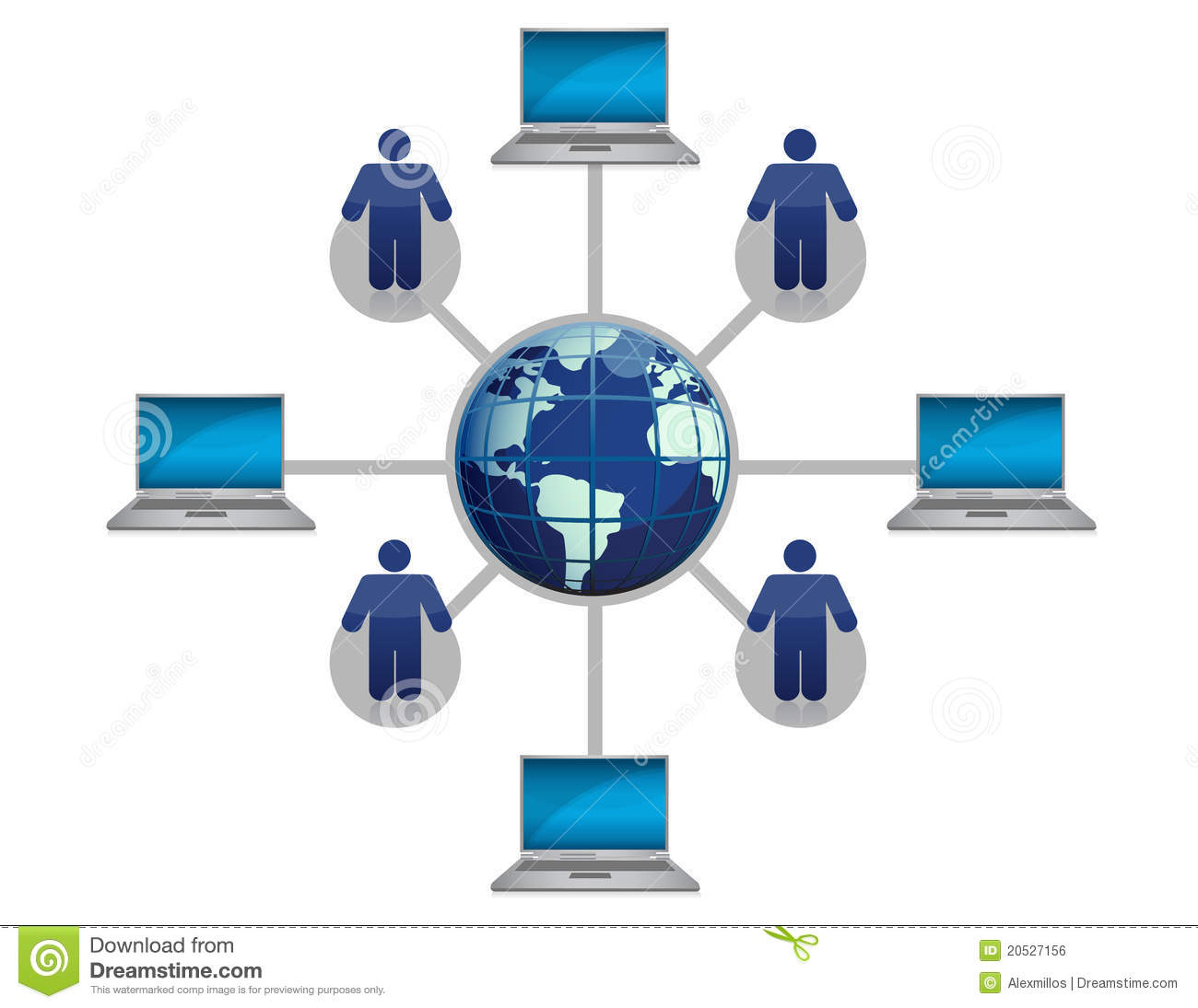 Global Computer Network Blue Royalty Free Stock Image  Image