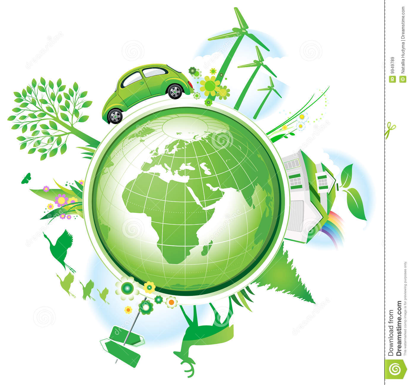 Global Conservation Concept Stock Vector Illustration