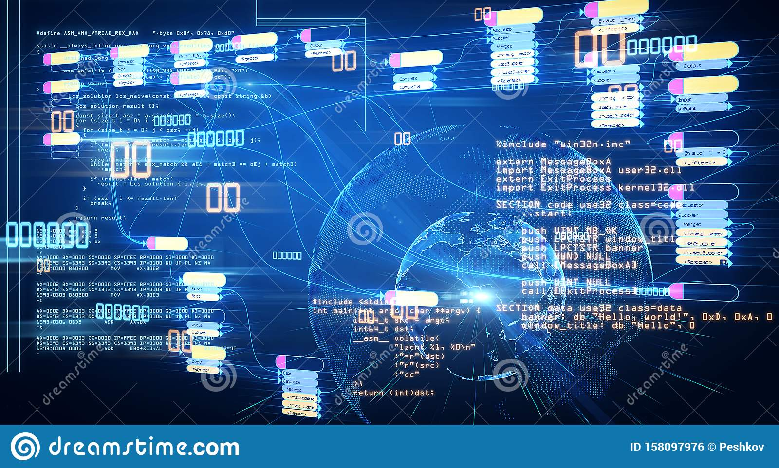 Global data base concept with abstract futuistic infographic at digital world map background