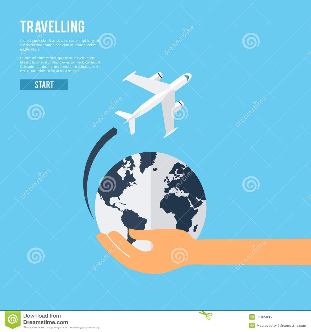 job search business cards job interview preparation flat banner world travel aircraft jet flying around the earth globe icon
