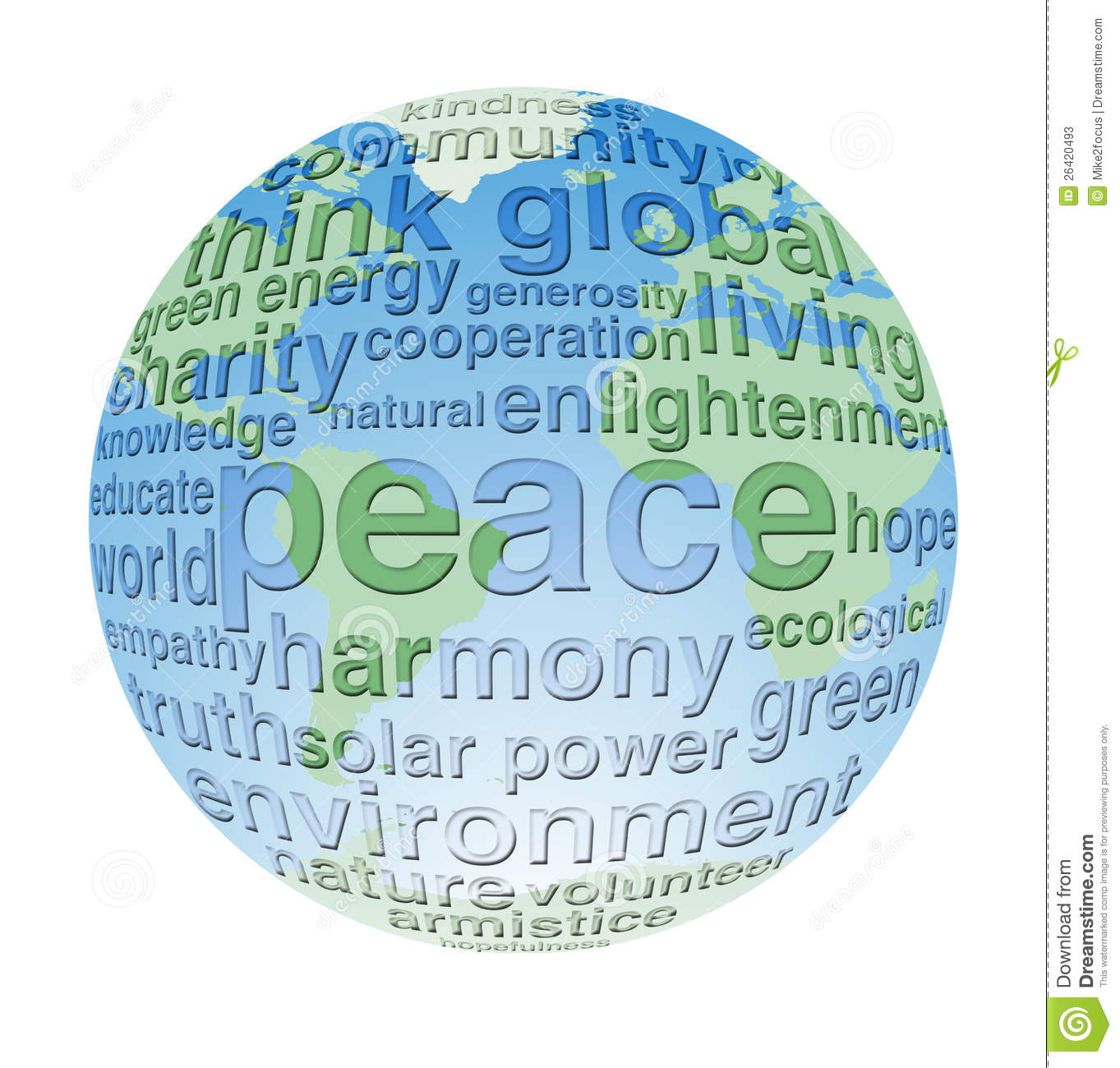 global and eco peace word cloud globe stock illustration