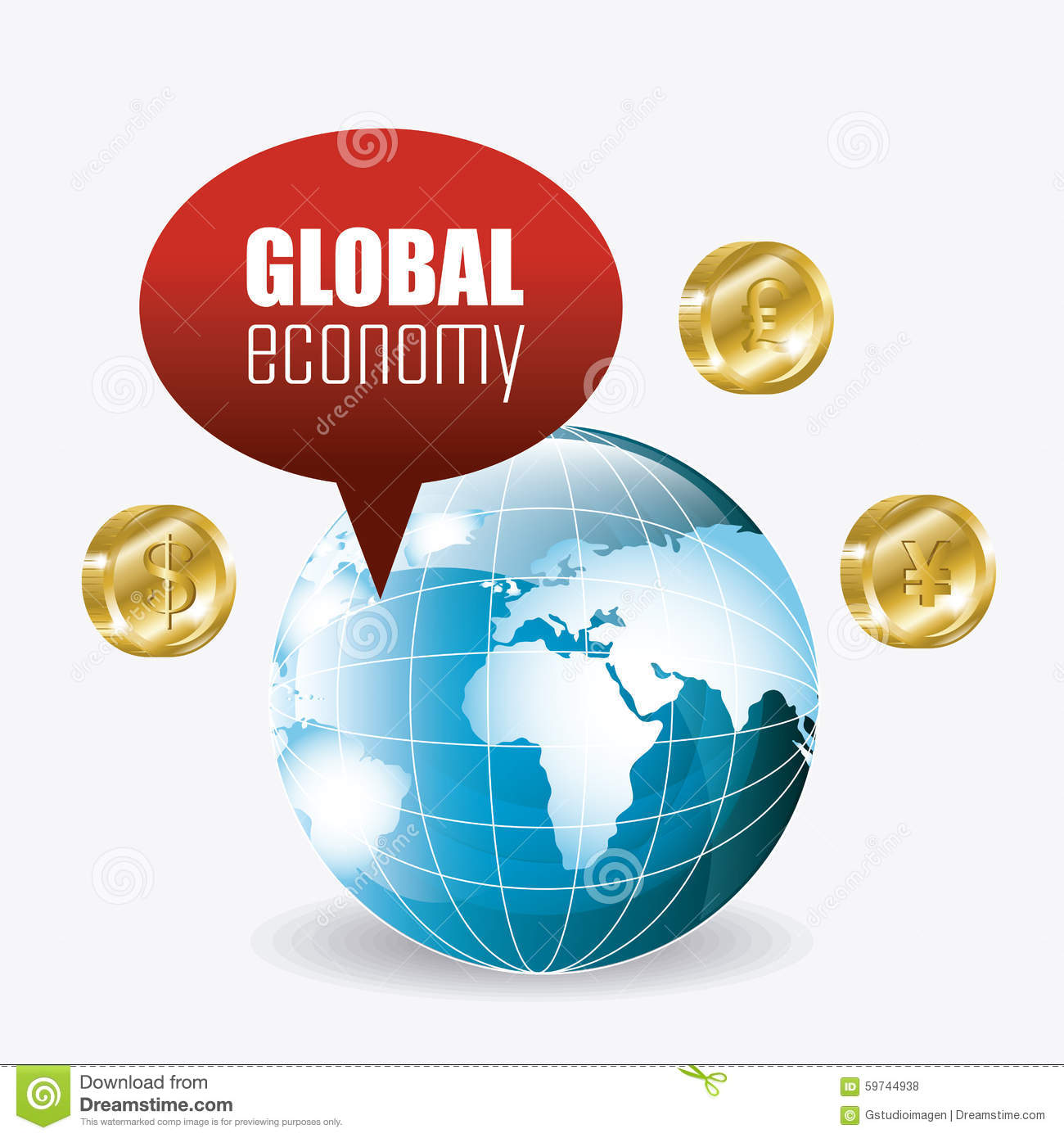 Global economy money and business stock vector image for Global design company