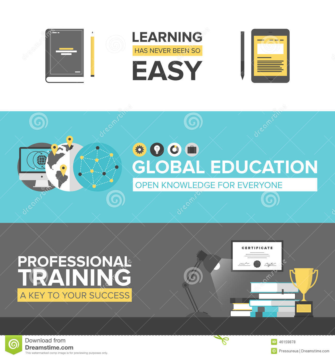 Global Education Flat Design Banners Stock Vector - Image: 46159878