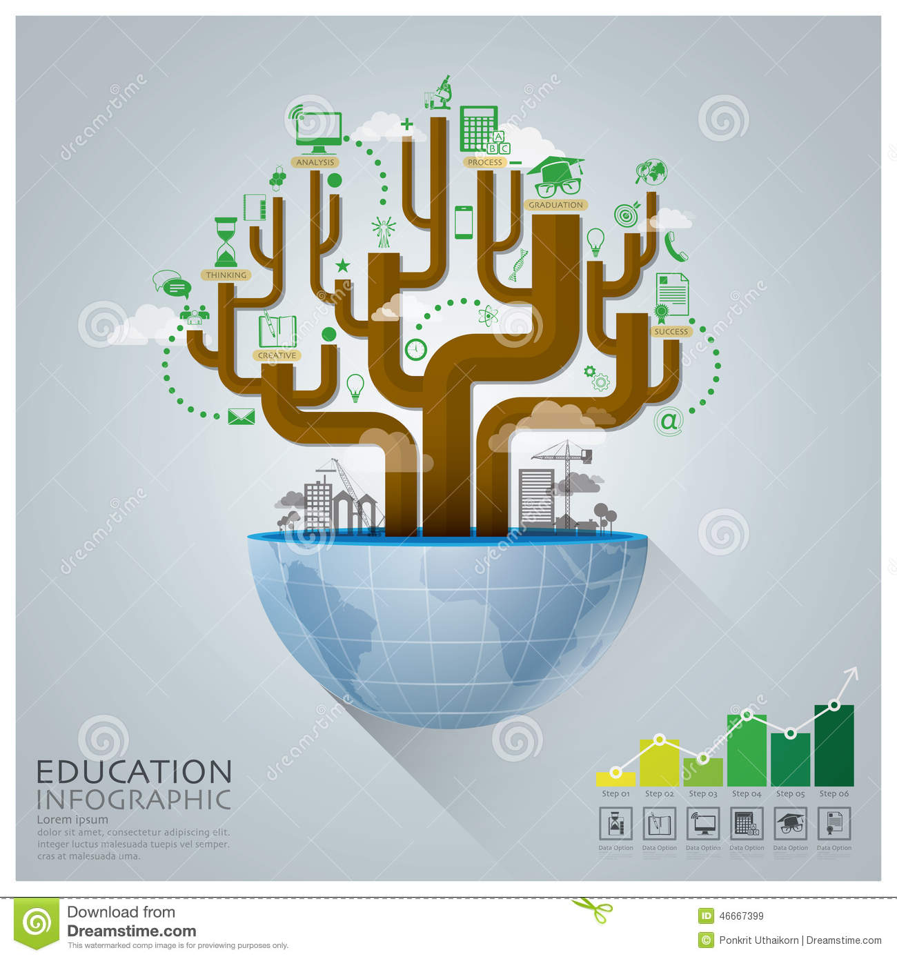 Global Education With Tree Diagram Creative Concept ...