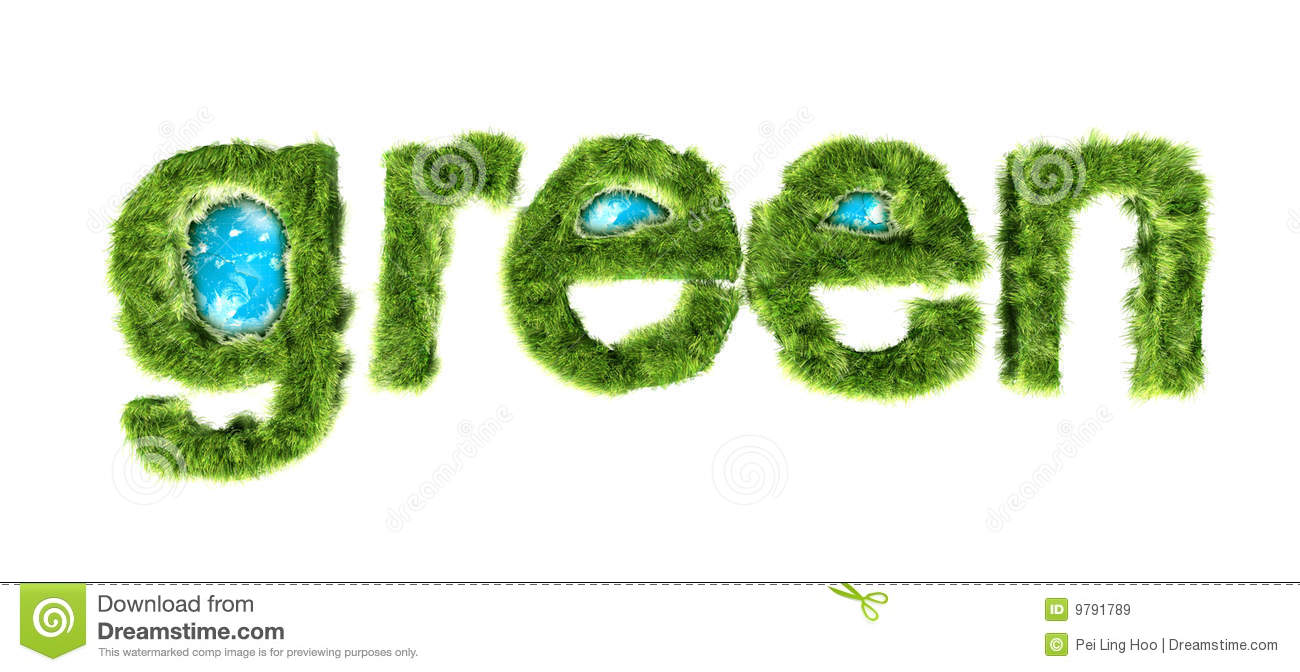 Green word wrapped by grass with globe in the word 3d illustration ...