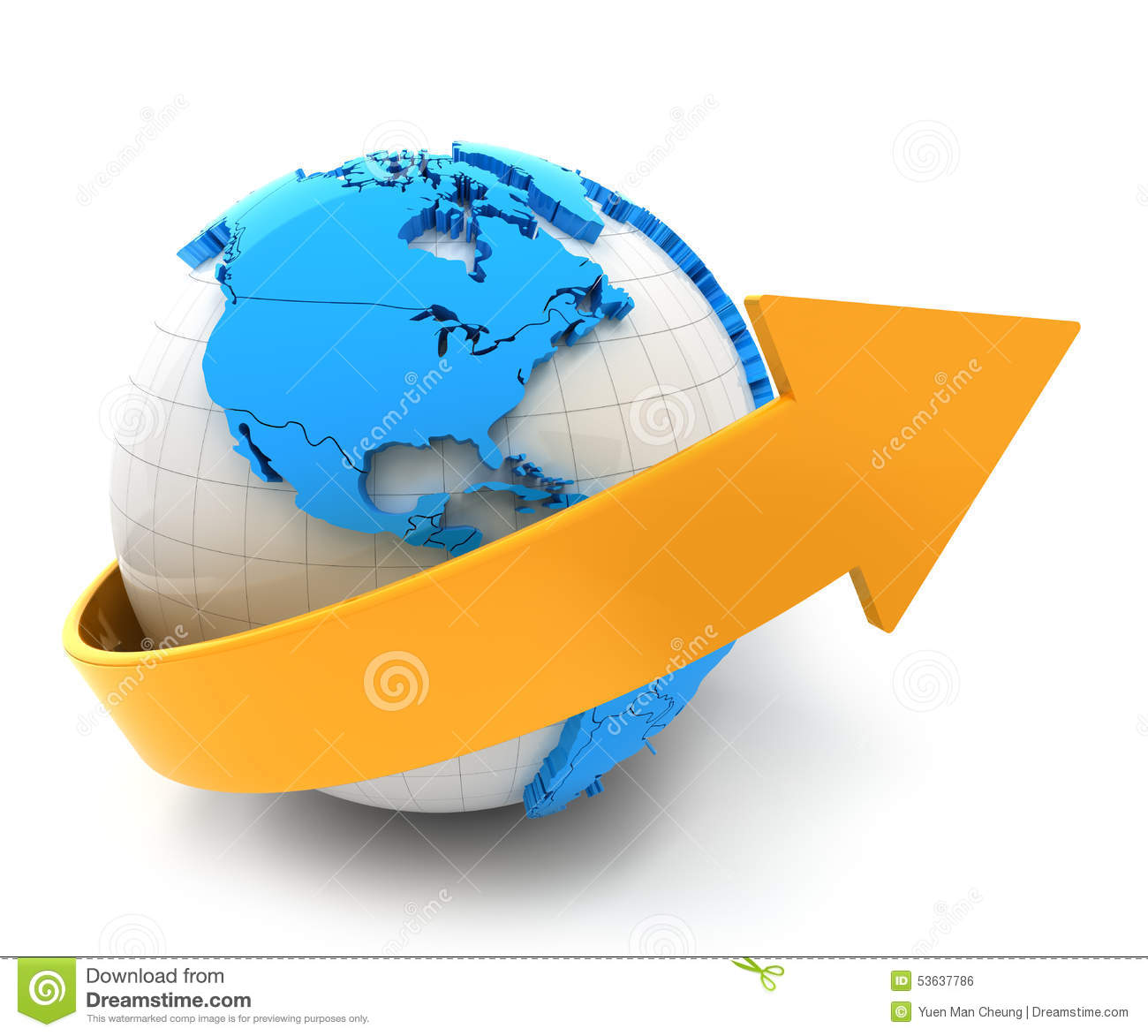 3d render of globe with arrow white background