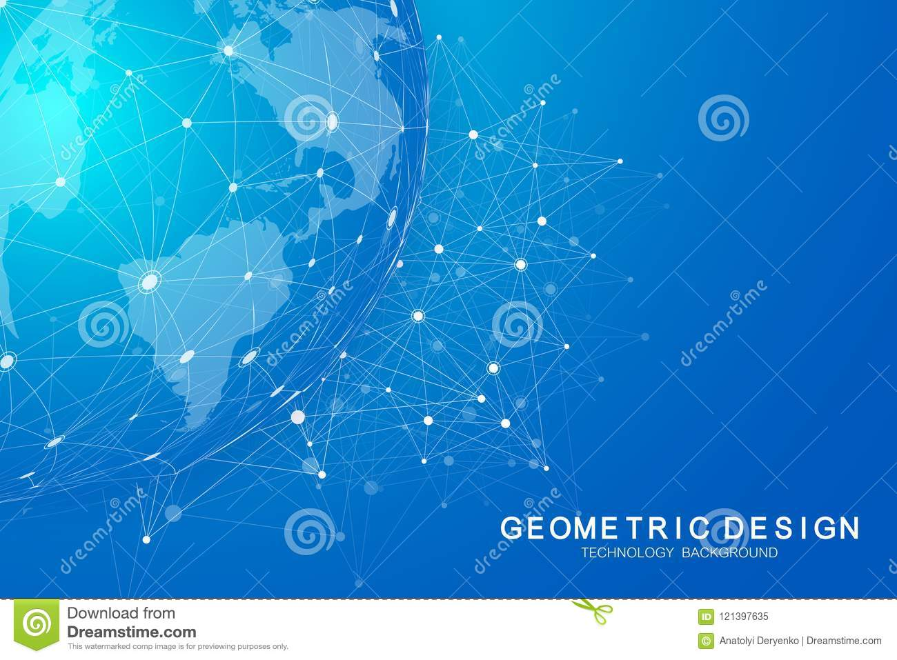 Global international blockchain with World map. Modern future planet space low poly modern future technology finance