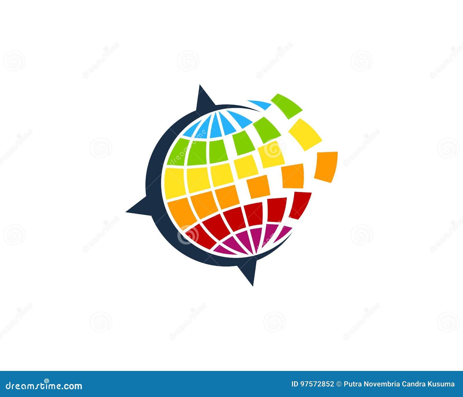 Global International Travel Icon Logo Design Element Stock Vector
