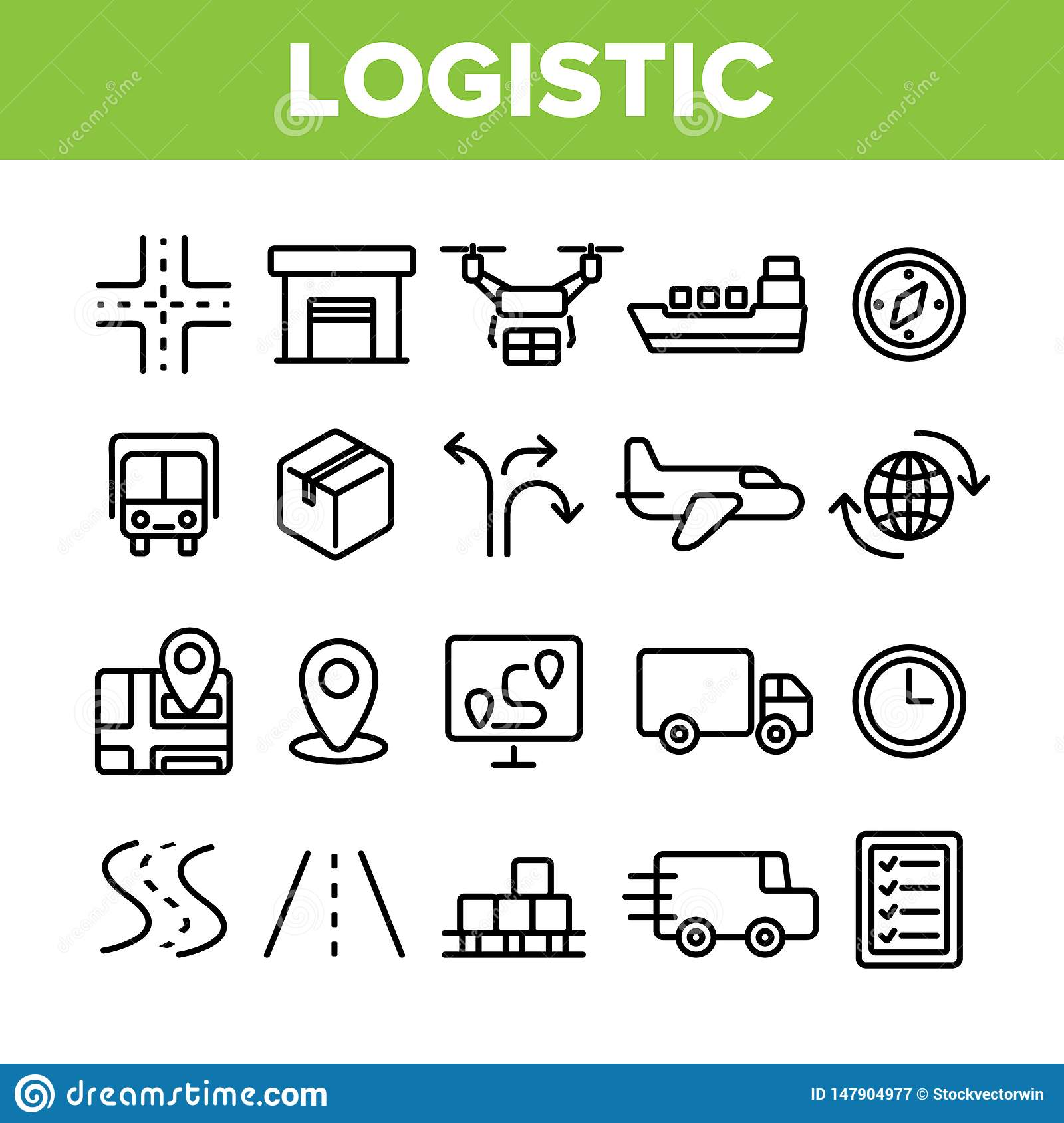 Global Logistic Department Linear Vector Icons Set