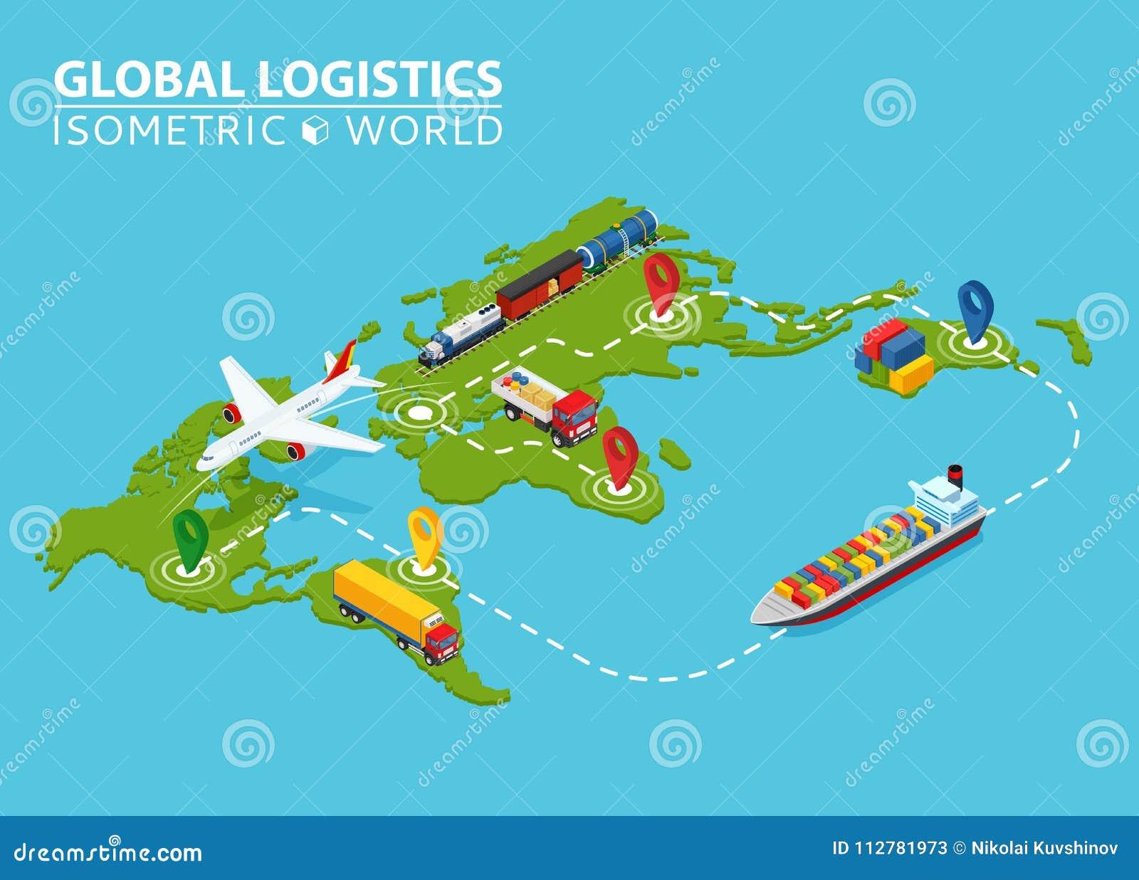 Global Logistic Isometric Vehicle Infographic  Ship Cargo