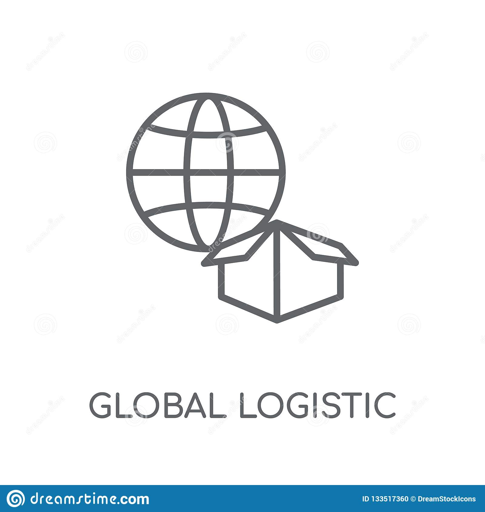 Global Logistic linear icon. Modern outline Global Logistic logo