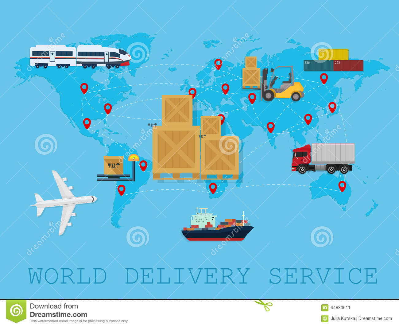 Global logistic shipping and service worldwide delivery world map download global logistic shipping and service worldwide delivery world map concept stock vector illustration gumiabroncs Choice Image