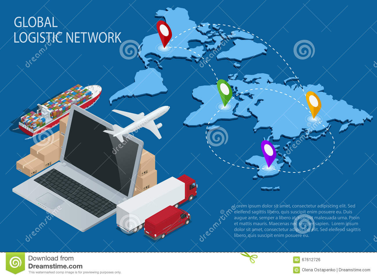 Global logistics. Global logistics network. Logistic isometric concept. Logistic Insurance. Ship cargo concept. Logistic