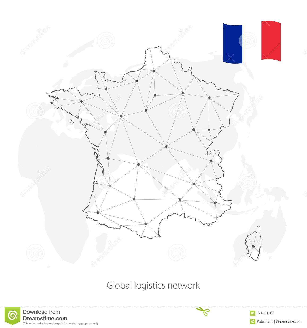 Map Of France In The World.Global Logistics Network Concept Communications Network Map France