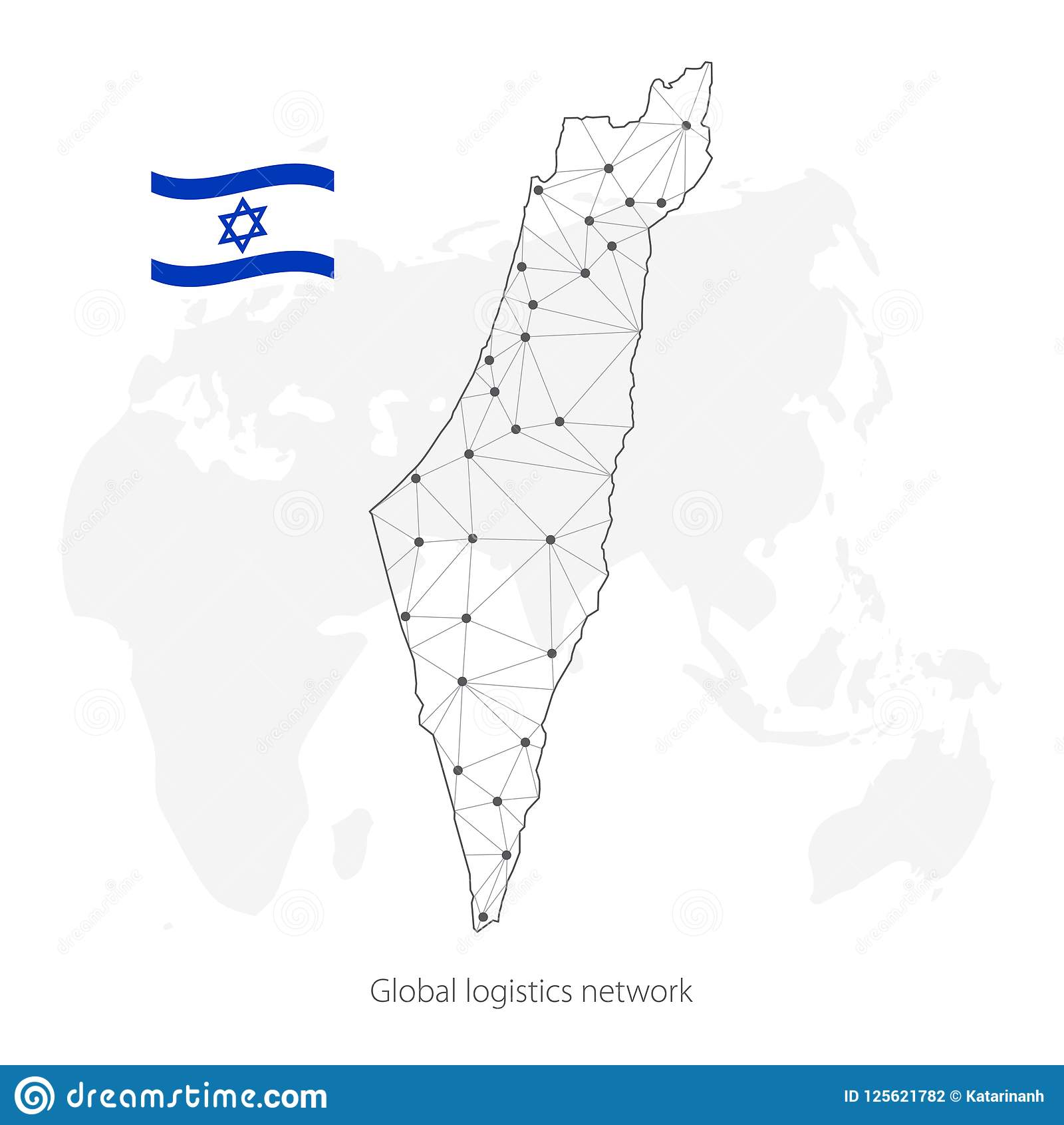 Global Logistics Network Concept. Communications Network Map Israel ...