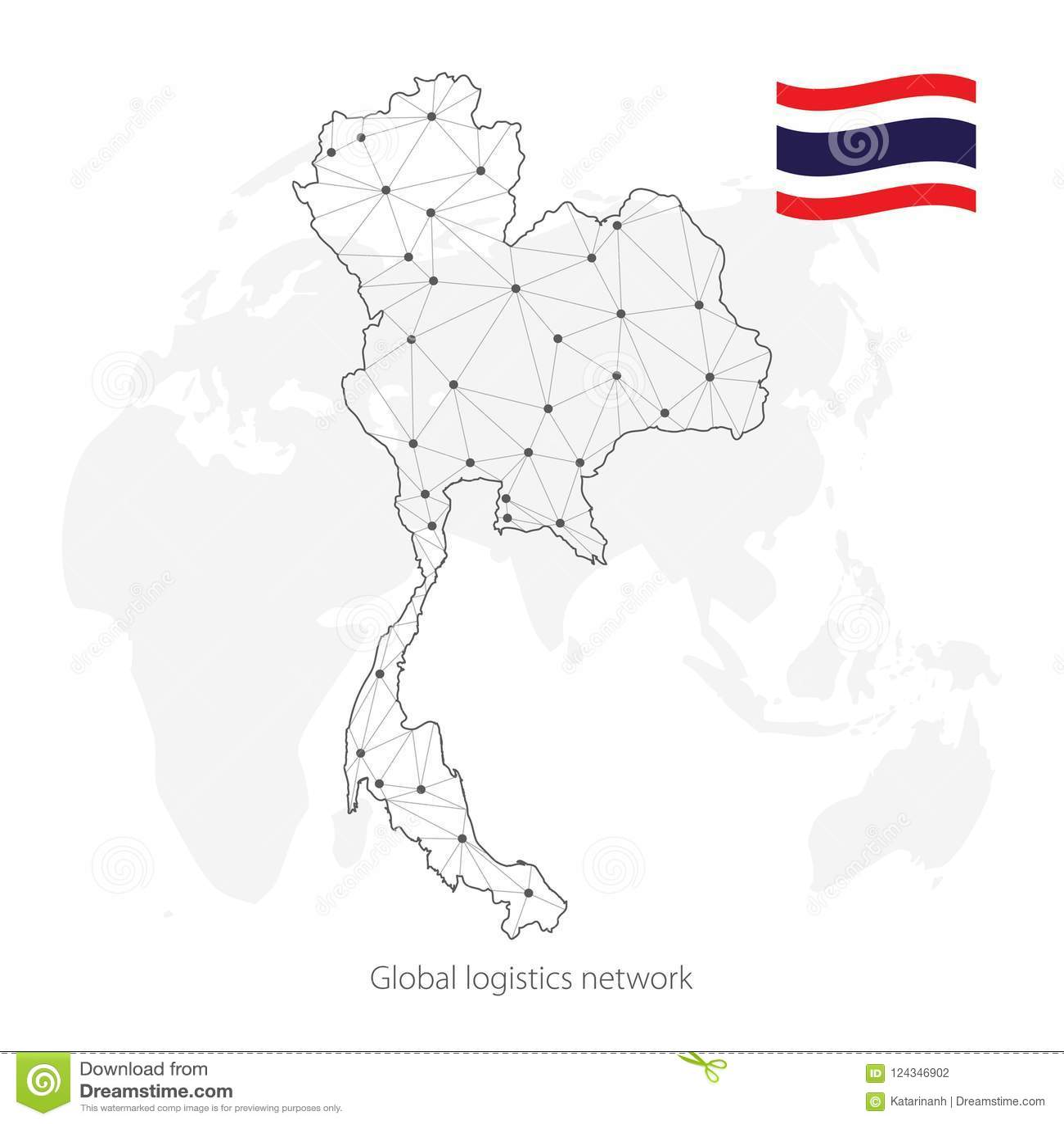 Global Logistics Network Concept Communications Network Map Kingdom