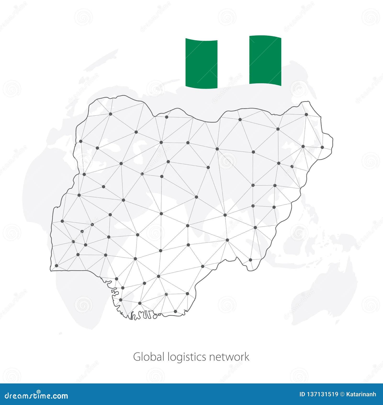 Global Logistics Network Concept Communications Network Map Nigeria