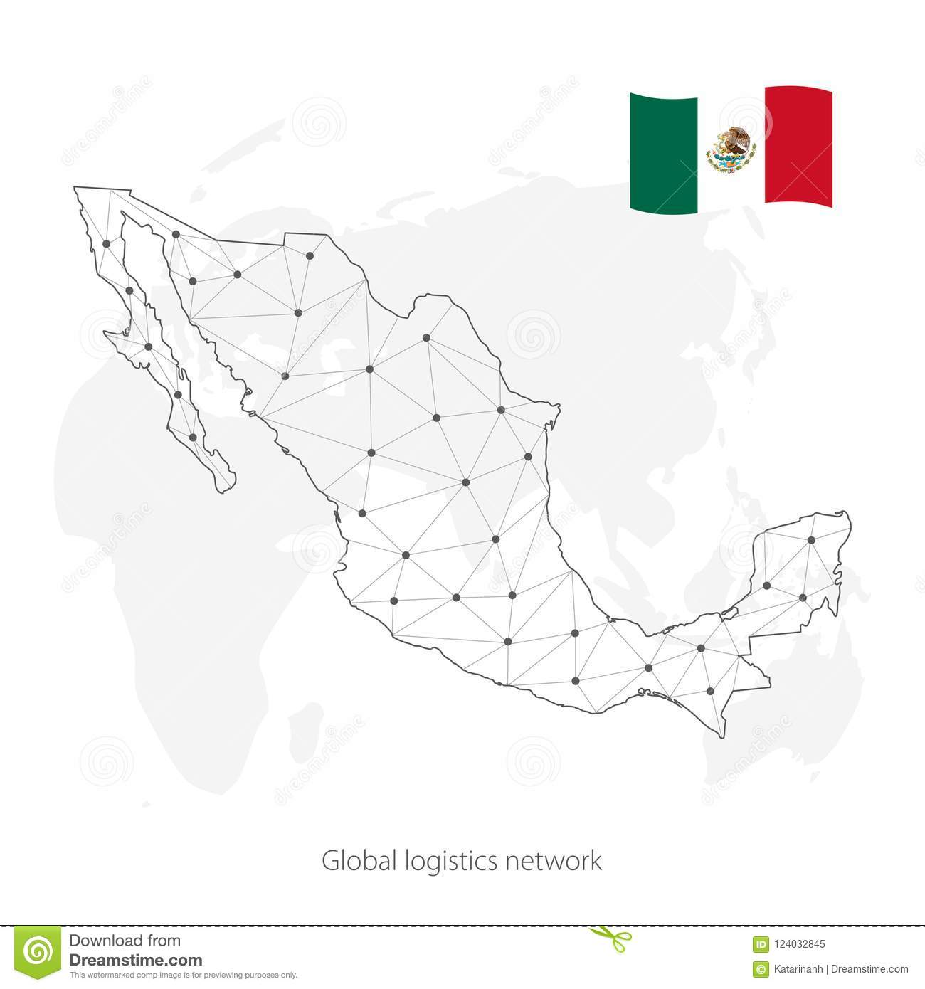 Global Logistics Network Concept. Communications Network Map Of The ...